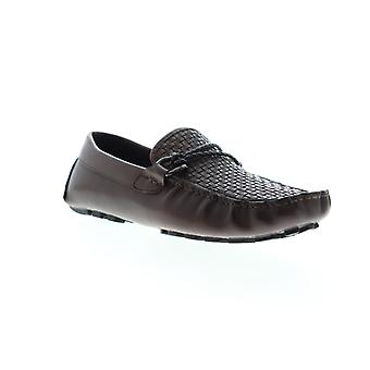 Zanzara Drake  Mens Brown Leather Casual Slip On Loafers Shoes