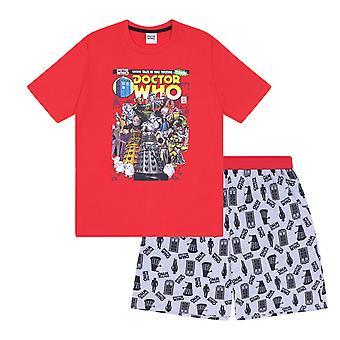 Doctor Who Official Gift Mens Loungewear Retro Short Pyjamas