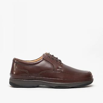 Roamers Percy Mens Wide Fit Cuir Smart Chaussures Brown