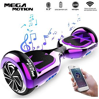 Mega Motion Kids Super Gifts Scooter eléctrico autoequilibrado incorporado en altavoces Bluetooth - LED