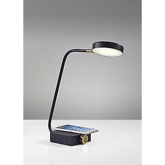 Tech Enhanced Black Metal Disk LED Adjustable Desk Lamp