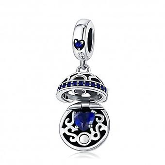 Sterling Silver Pendant Charm Gift Box Ball Blue - 5727