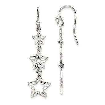 925 sterlinghopea 3 tähden pitkä pudota dangle korvakorut korut lahjat naisille - 2,2 grammaa