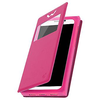 Smartphone Case 5'' Card Holder Window Video stand,slide Pink
