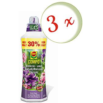 Sparset: 3 x COMPO balcony and potted plant fertilizer, 1.3 litres