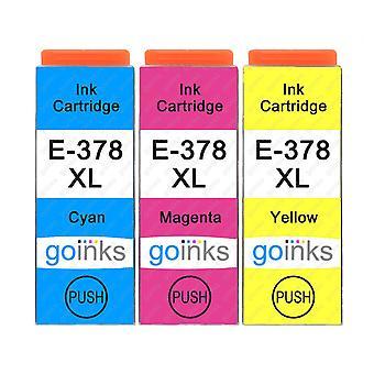 1 3 mustekasettia Epson 378XL C/M/Y -yhteensopivan/muun kuin OEM-laitevalmistajan tilalle Go Inksistä (3 mustetta)