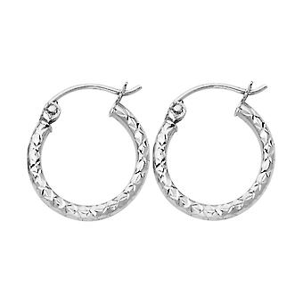 14k White Gold Silk Sparkle Cut 1.5mm Round Tube Hoop Earrings 15mm Jewelry Gifts for Women