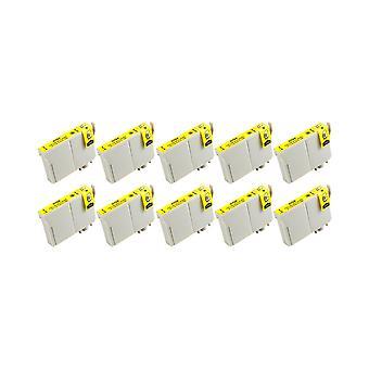 RudyTwos 10 x korvaaja Epson pöllö muste yksikkö keltainen yhteensopiva Stylus Photo 79, 1400, 1410, 1500W, P50 PX650, PX660, PX700W, PX710W, PX720WD, PX730WD, PX800, PX800FW, PX810FW, PX820FWD, PX830