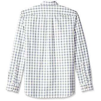Goodthreads Men's Standard-Fit Långärmad Pläd Chambray Skjorta, Vit/Blå, XXX-Large
