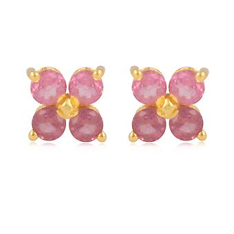 ADEN Gold Plated 925 Sterling Silver Tourmaline flower Earrings (id 4478)