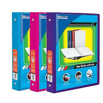 Combo61, BAZIC 1 Inch 3-Ring View Binder with 2-Pockets (Case pack of 36 consist 12-Cyan, 12- Fuschia & 12-Purple)