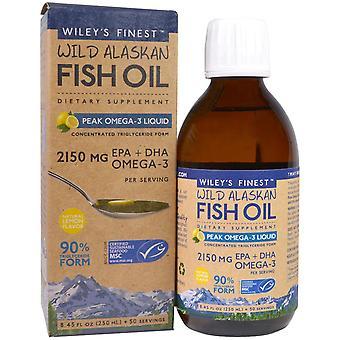 Wiley's Finest, Huile de poisson sauvage de l'Alaska, Liquide d'oméga-3 de pointe, Saveur naturelle de citron