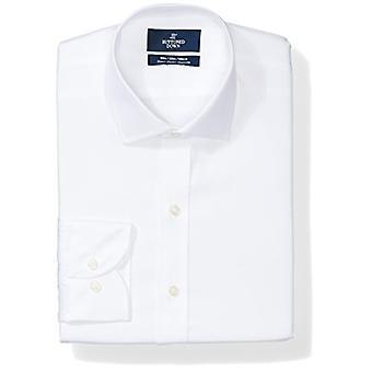 BUTTONED DOWN Men's Slim Fit Stretch Poplin Non-Iron Dress Shirt, White, 17.5...
