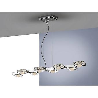 Integreret LED 8 Light Crystal Bar Loft Vedhæng Chrome