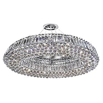 10 Light Ceiling Pendant Chrome with Crystals, G9
