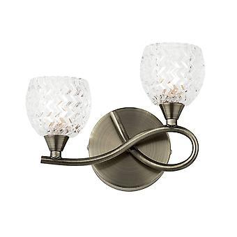 2 Ljus Inomhusvägg Ljus Antik Mässing med glas, G9