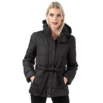 Women's Jacqueline de Yong Sue Padded Belted Jacket in Black