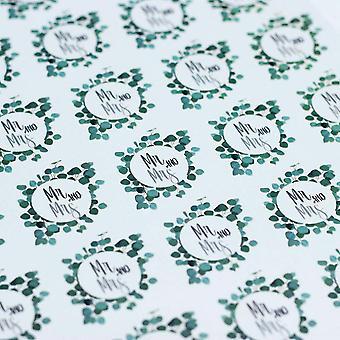 Mr og Mrs klistremerker Eucalyptus ark med 35 klistremerker bryllup favoriserer