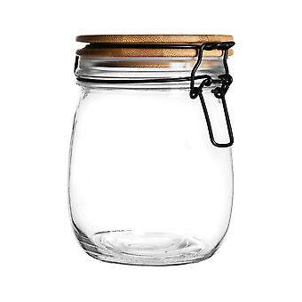 Airtight Storage Jar with Wooden Lid - Round Scandinavian Style Glass Canister - Clear Seal - 750ml
