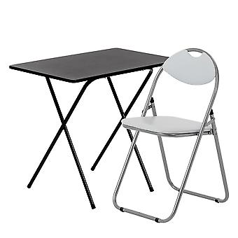 2 Piece Folding Desk and Chair Set - Wooden Top - Black/White