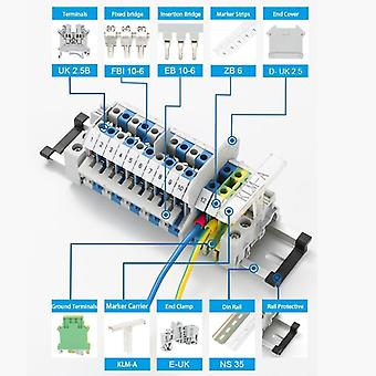 Din Rail Terminal Block Uk-2.5b Trådkontakt Connductor Universal klass