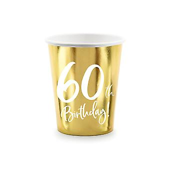 60th Birthday Gold Paper Party Cups Decorations x 6
