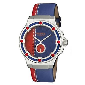 Rebel Women-apos;s RB119-4141 Flatbush Subdial Blue/Red Leather Montre-bracelet