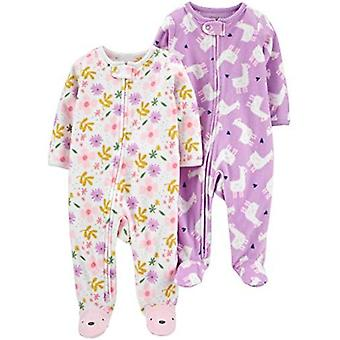 Simple Joys by Carter's Baby Girls' 2-Pack Fleece Footed Sleep and Play, Kitty/Giraffe, 0-3 Months