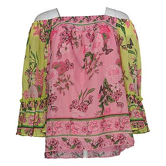 Colleen Lopez Women's Top Flounce Sleeve Smock-Neck Blouse Pink 698-394