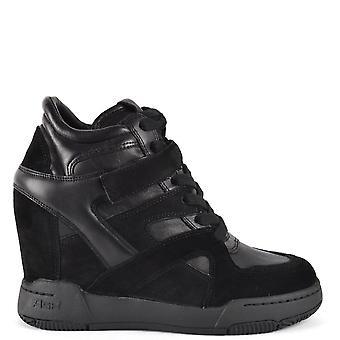 الرماد الأحذية الجسم إسفين المدربين الأسود