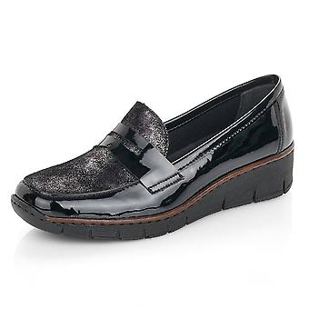 Rieker 53732-01 Yvonne Stylish Winter Loafers In Black