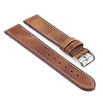Strapsco vintage leather strap with white contour stitching