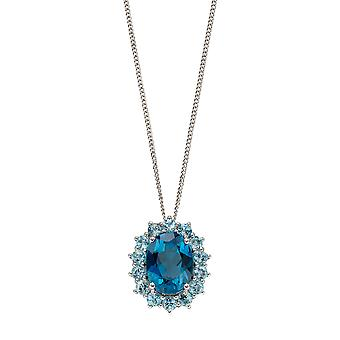Elements Gold 9ct White Gold Oval London Blue Topaz with Floral Blue Topaz Surround Pendant Necklace of Length 41-46cm