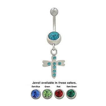 14Ga dragonfly dangle belly ring with cz jewels