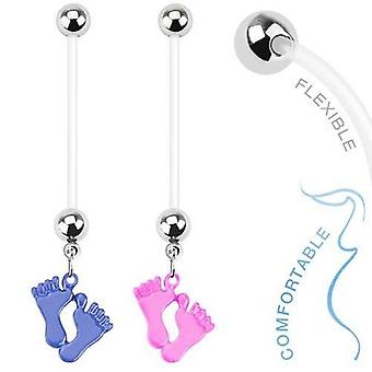 Maternity dangle baby feet  belly ring girl and boy 14g flexi shaft