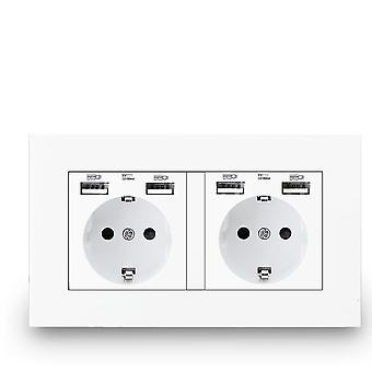 Usb Socket, Double Outlet,16a Quality Power Panel, Double Frame Wall