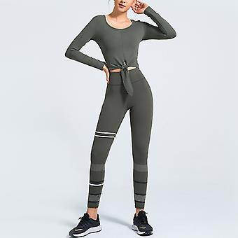 Workout Sets for Women 2 Piece Outfits Knot Waist Yoga Leggings Long Sleeve Crop Tops Active Gym Clothes