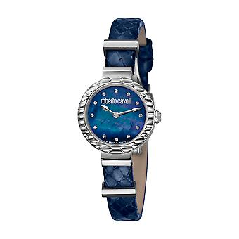 Roberto Cavalli Women's Diamond Scala Silver Case Dark Blue Leather Strap Watch Set