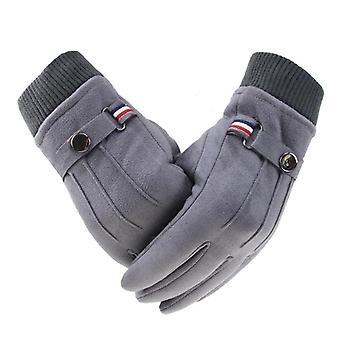 メン&アポスの冬の手袋、暖かいスプリットフィンガーバックルデザイン、男性タッチスクリーンミトン