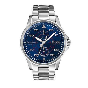 הוגו בוס 1513519 כסף 44mm נירוסטה טייס גברים & apos;s שעון