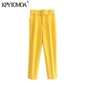 Mujeres moda de cintura alta con cinturón Vintage cremallera fly bolsillo pantalón