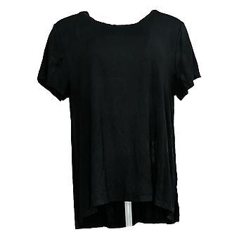 Cuddl Duds Women's Top Softwear Stretch Short Slv Side Slit Black A368063