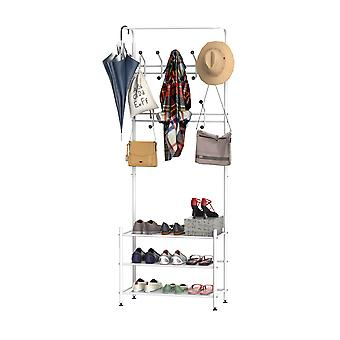 HOMCOM Multi-purpose Metal 18 Hooks Coat Hook 3 Tier Shoes Rack Stand Hat Clothes Organizer Umbrella Stands Entryway Hanger Hall Shelves (White)