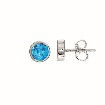 Sterling Silver Round Blue Opal Stud Earrings