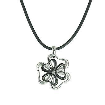 Skagen damer kæde læder blomst rustfrit stål sølv sort JNB0019