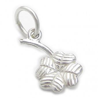 4 Leaf Lucky Clover Tiny Sterling Silver Charm .925 X 1 Geluksbrengers - 4655
