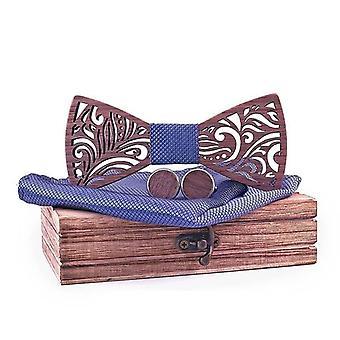 Wooden Bow Tie Set And Handkerchief Bow Tie Necktie Cravat Homme Nose