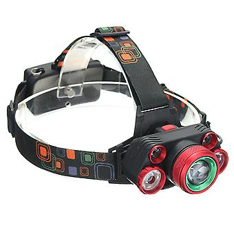 XANES 2407 2500LM T6+4XPE Headlamp Mechanical Zoom for Camping Hiking Cycling