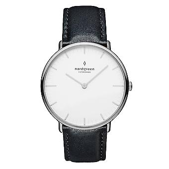 Nordgreen Unisex Native Leather Silver 36mm Watch NR36SILEBLXX