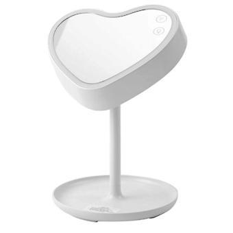 أدى الغرور مرآة الاتصال تعتيم مكتب الغرور مرآة مرآة على شكل قلب usb شحن مرآة